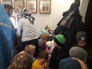 Водосвятный молебен с участием группы детского сада в церкви села Вирга